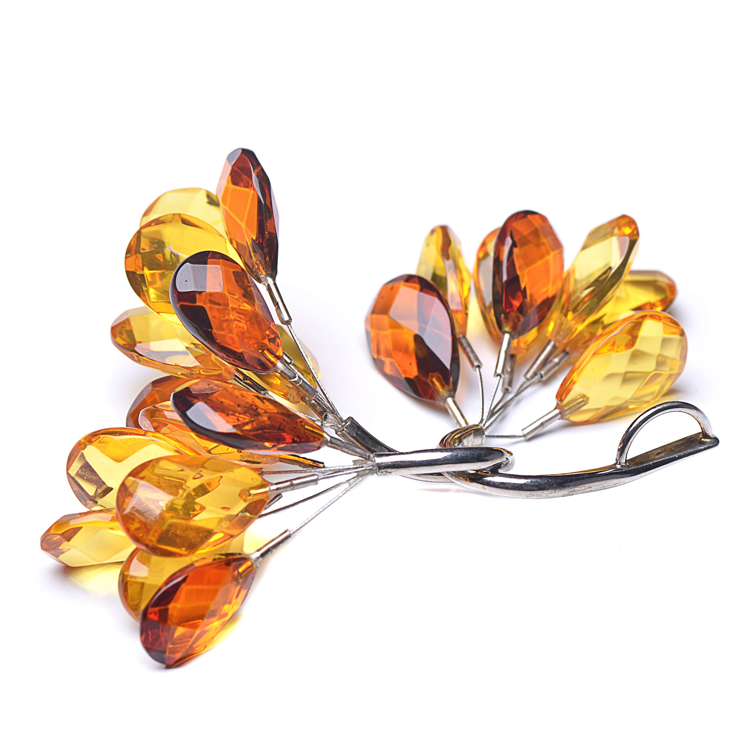 Tree Branch Pendant - Pendant with Amber Leaves - Pendant with Leaves - Colorful Amber Pendant by Genuine Amber