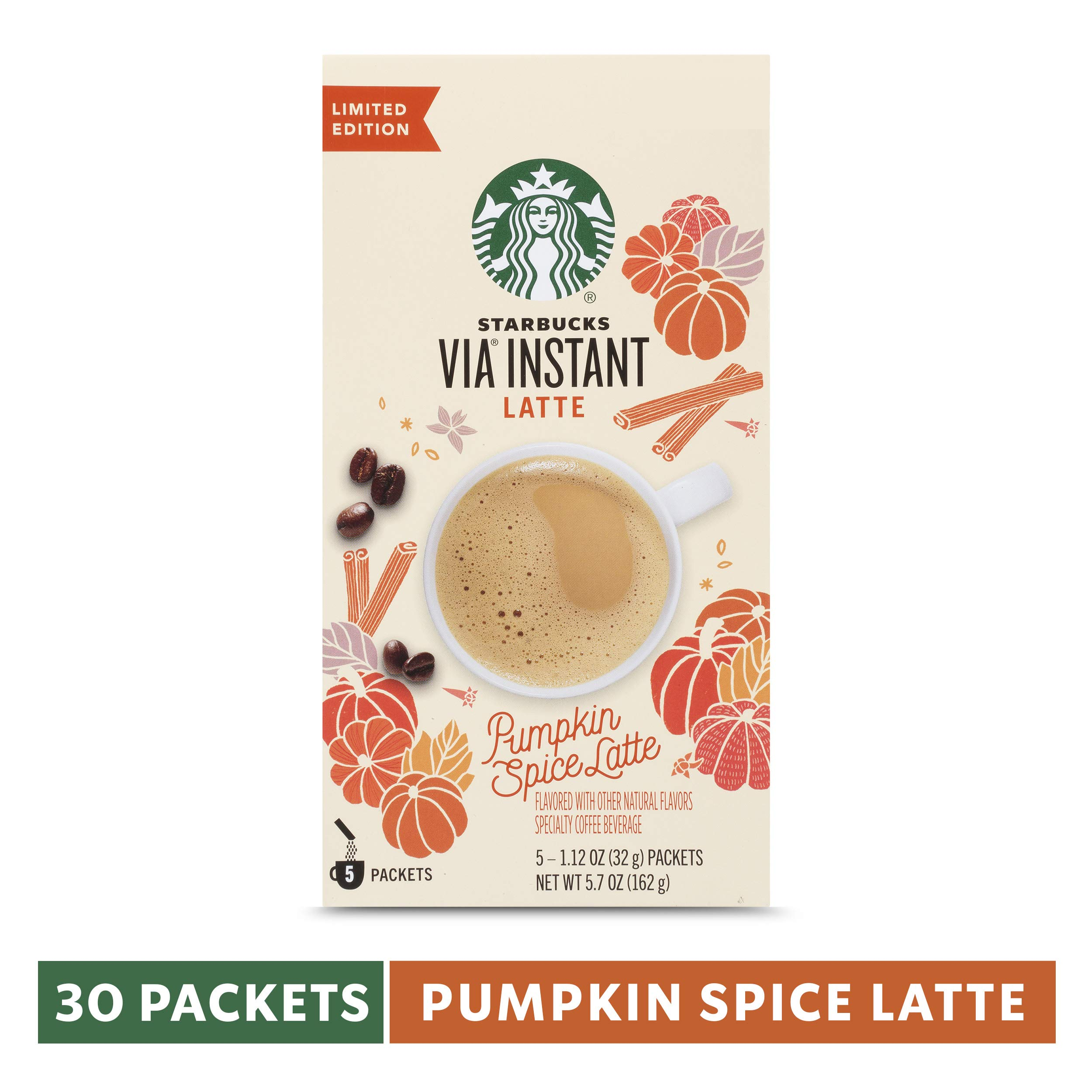 Starbucks VIA Instant Pumpkin Spice Latte, 6 Boxes of 5 (30 Total Packets) by Starbucks