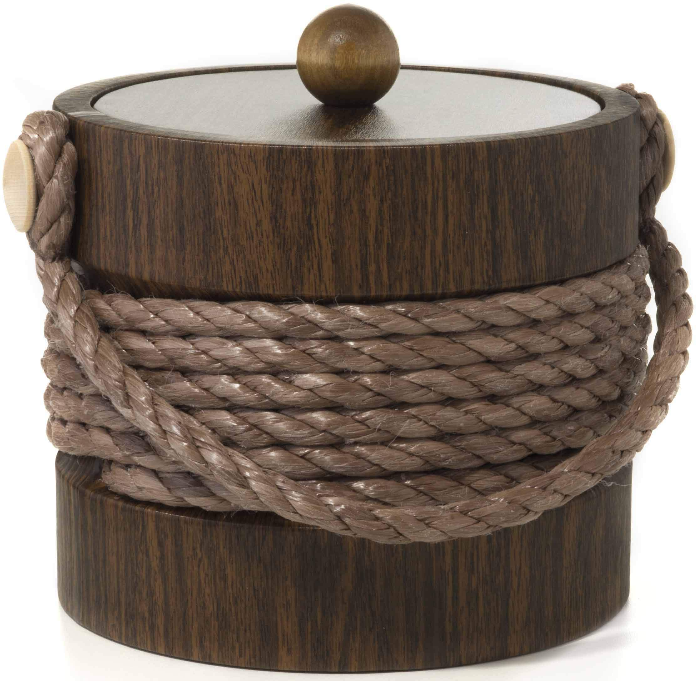 Hand Made In USA Walnut Grain With Rope Handle Double Walled 3-Quart Insulated Ice Bucket With Bonus Ice Tongs by Mr. Ice Bucket By Stephanie Imports (Image #2)