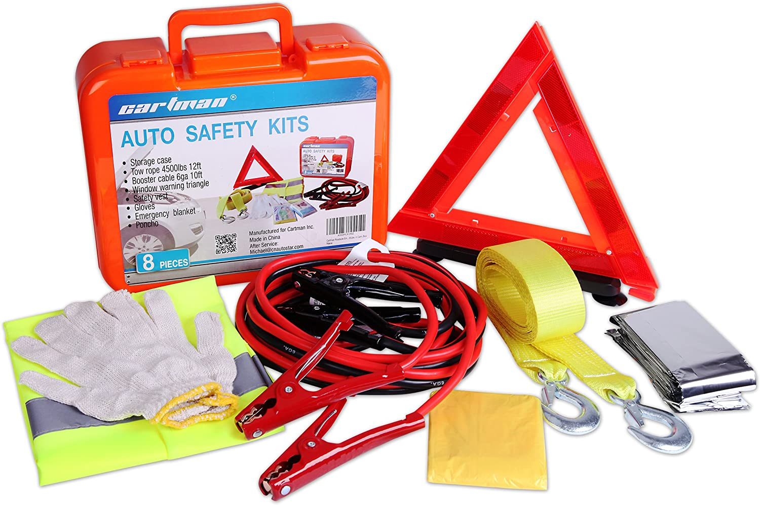CARTMAN Roadside Assistance Auto Emergency Kit Set, Jump Cables 6Ga + Tow Belt 4500Lbs, in Carry Box: Automotive