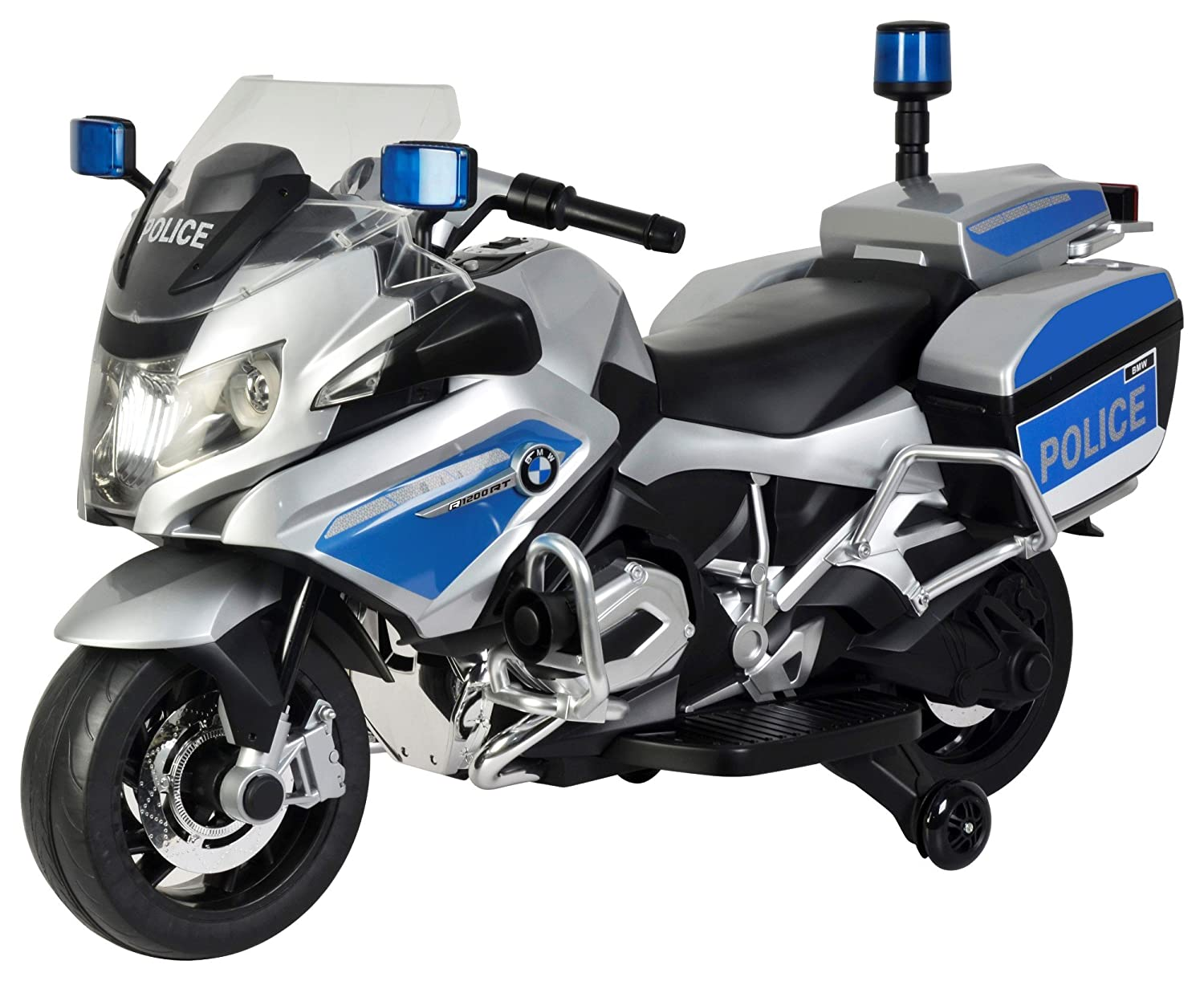 Toy House Officially Licensed Bmw R 1200 Rt Police Motorcycle Rechargeable Battery Operated Ride On Bike For Kids 2 To 7 Silver