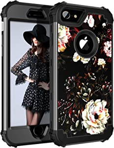 Lontect Compatible iPhone 8 Case, iPhone 7 Case Floral 3 in 1 Heavy Duty Hybrid Sturdy High Impact Shockproof Protective Cover Case for Apple iPhone 8/iPhone 7 - Flower/Black