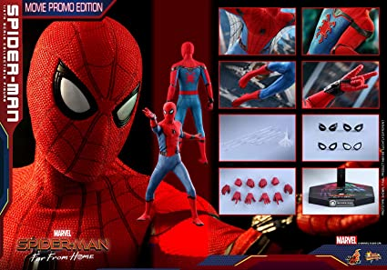 Amazon Com Hot Toys 1 6 Spider Man Far From Home Mms535 Peter Parker Movie Promo Edition Toys Games
