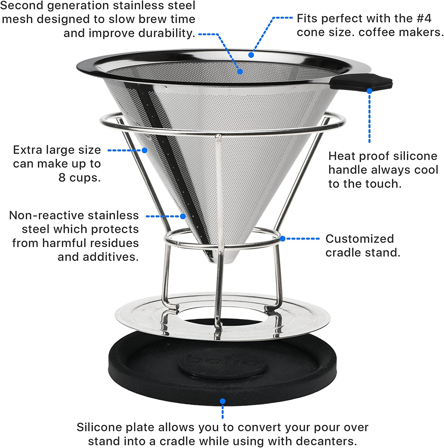 No 2 Size Fits Chemex V60 Pour Over Bolio Stainless Steel Coffee Filter Bodum and most 10 Cup Coffee Makers