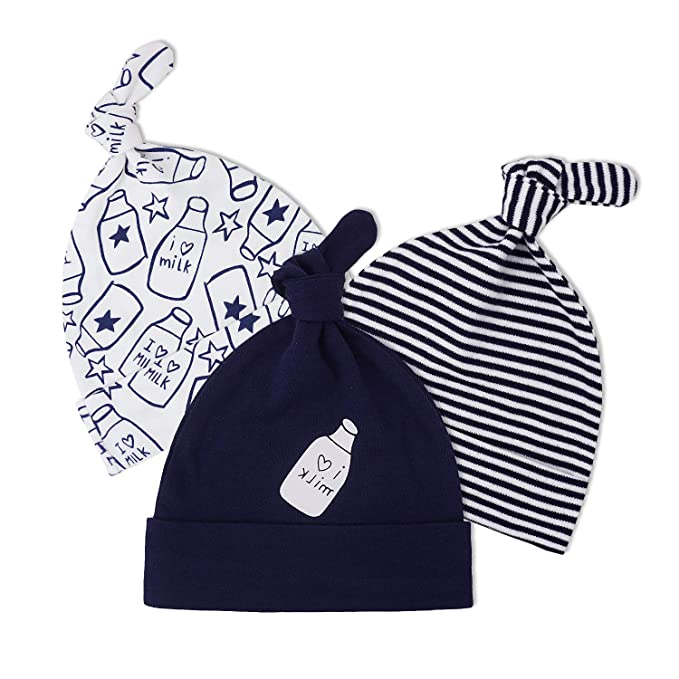 0790e75e8 Knot Hat Baby Newborn Hats for Grils Boys Infant Hospital Hats and Soft  100% Cotton Baby Caps 0-6 Months 3 Pack