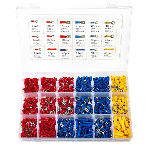 Tnisesm 200pcs M3 Insulated Ring Crimp Terminals Connectors Quick Disconnect Electrical Wire Assortment Kit TN-T10