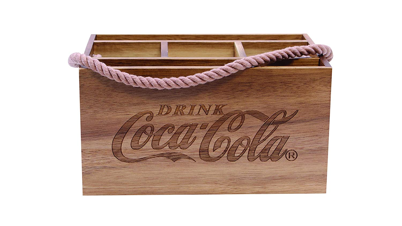 Tablecraft CC330 Coca-Cola Acacia Wood Caddy with Rope Handle, Wood