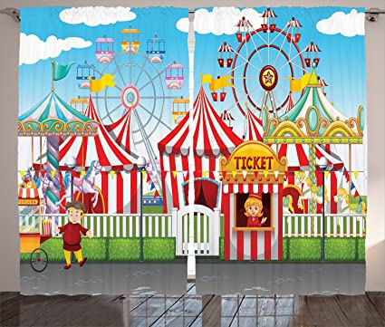 Ambesonne Circus Decor Curtains, Carnival With Many Rides And Shops  Illustration Landscape Cloudy Sky,