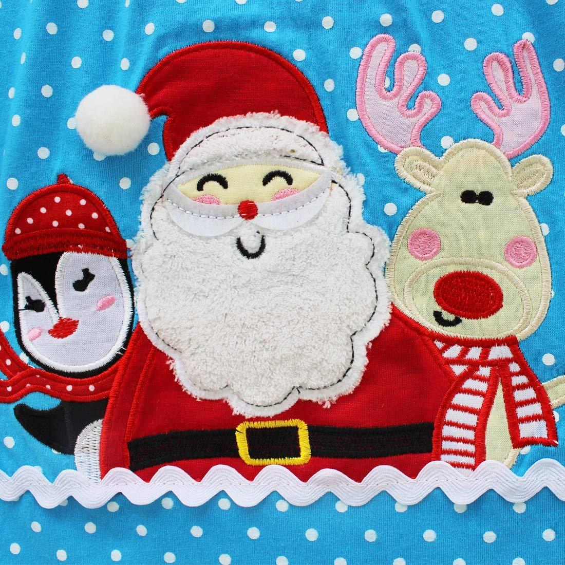 dPois Niños Niñas Pijama Algodón Lindo Estampado Santa Noel Ropa de Dormir Manga Larga 2 Piezas Camisa + Pantalones Rayas Navidad Regalo Conjunto Invierno ...