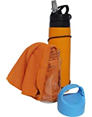 Campfire Products Collapsible Water Bottle and Bonus Cooling Towel Ideal Refillable Water Bottles for Travel, Hiking, Camping, Sport, BPA Free Leak-Proof Silicone (Orange)