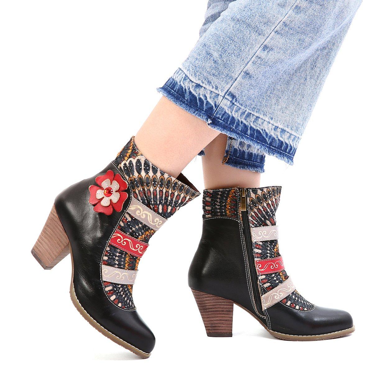 Gracosy Damen Stiefeletten Bunt Schuhe Damen Herbst Leder Stiefel Bedruckt Retro Handgemachtes Reißverschluss Schuhe High-Top Block Ferse Rutschfest Bequeme Arbeitsschuhe Stiefeletten mit Absatz