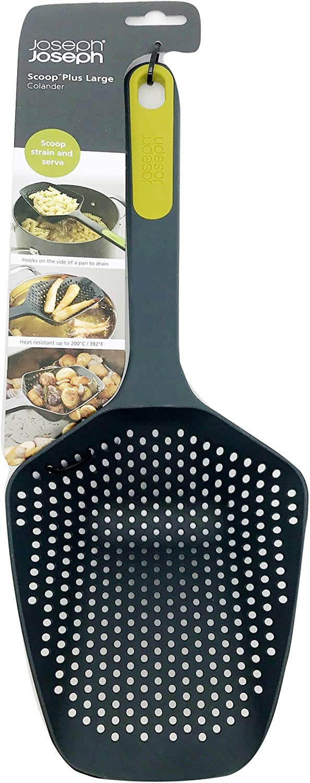 Joseph Joseph Scoop Colander Strainer Slotted Spoon, Large, Black: Kitchen & Dining
