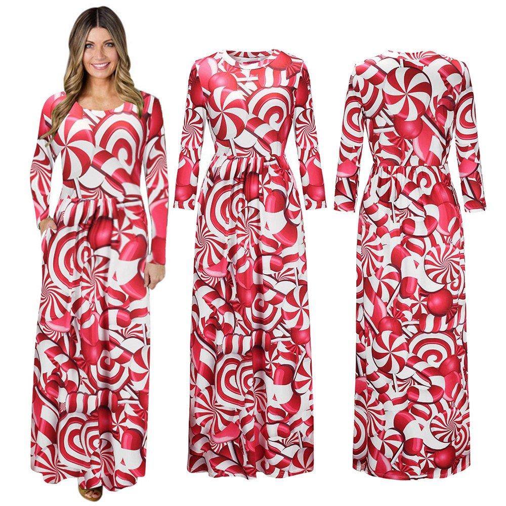 Cheap Stuff !!! Women Christmas Print Long Sleeve Dress Ladies Evening Party Long Maxi Dress (2XL, Red)