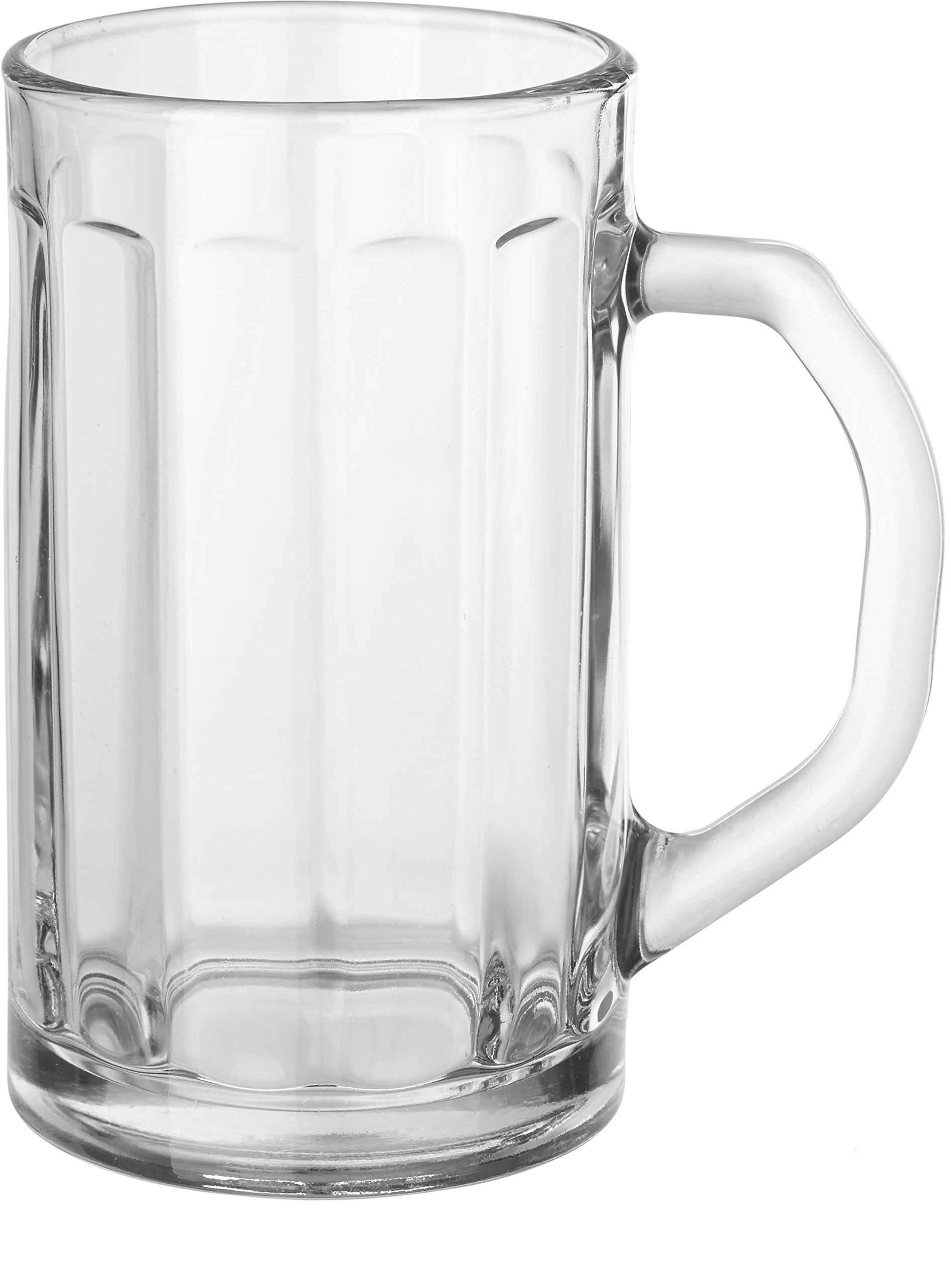 Circleware Downtown Pub Optic Glass Beer Mugs Beverage Drinking Glasses, Set of 4, 16.4 oz, Glassware Tumbler Cups for Water, Juice, Whiskey, Wine & Cocktail Beverages