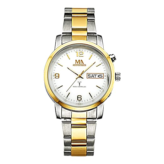 91abf5278 Meister Ancla Hombre Radio Reloj Acero Inoxidable 22 cm Amarillo Cuarzo Cristal  Mineral 490000083: Amazon.es: Relojes