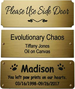 "Size: 4"" W x 1-1/2""H, Personalized, Custom Engraved, Brushed Gold Solid Brass Plate Picture Frame Name Label Art Tag for Frames, with Adhesive Backing or Screws - Indoor use only"