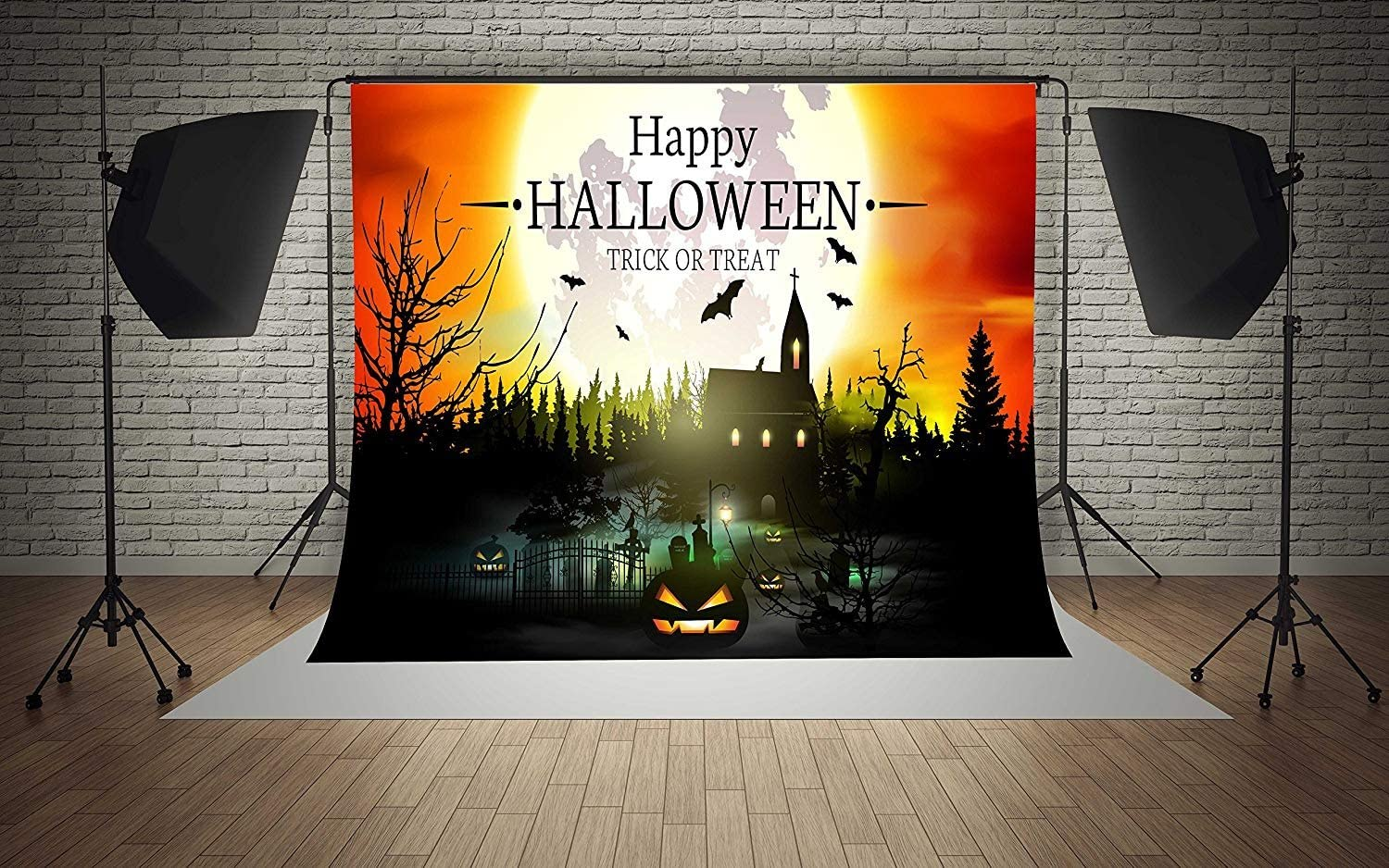 7x5ft Vinyl Happy Halloween Moon Pumpkins Castle Trick Or Treat Party Decorations Photography Backdrop Seamless No Creases Folding and Washable Photo Booth Background