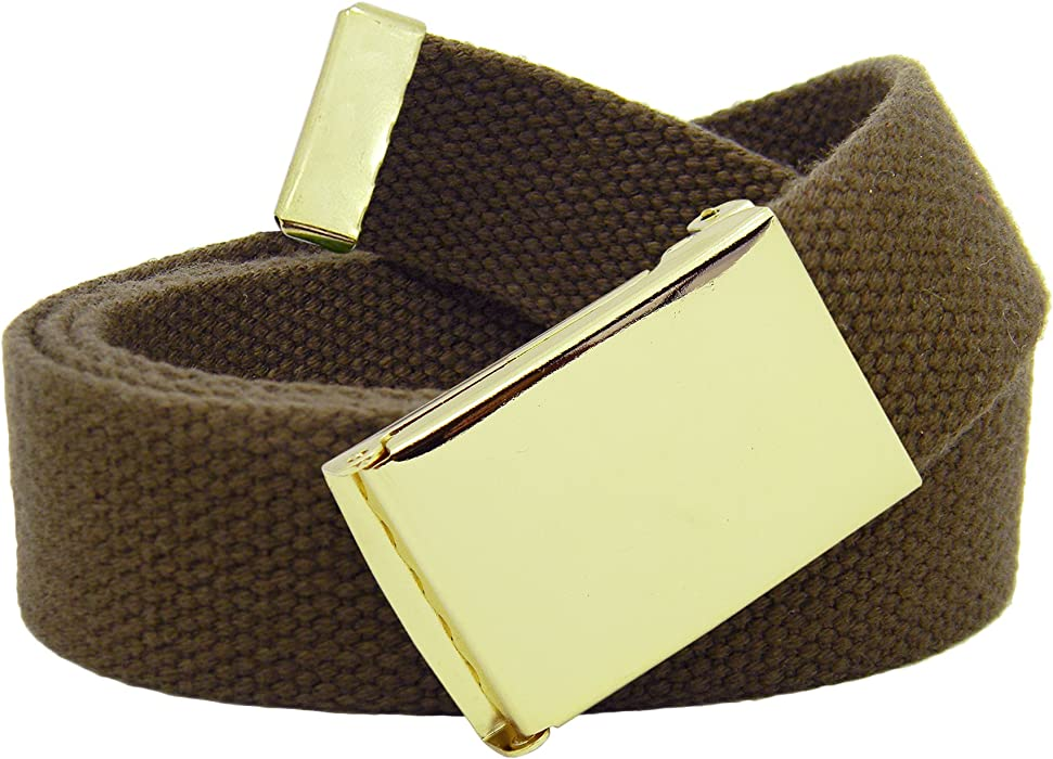 c9c857a1f7c Men s Gold Military Flip Top Belt Buckle with Canvas Web Belt Small Brown