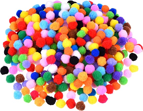 Healifty 200pcs Pompoms Arts Crafts Pom Poms Balls for Hobby Supplies Creative Craft DIY Material Decorations Mixed Color