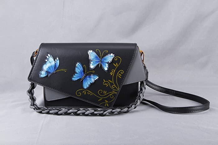 2bdfb9aee4 Morpho Butterfly Genuine Black Leather Crossbody Bag Saddle Satchel Purse-3rd  Anniversary Gift-Women Vegan Shoulder Handbag Evening Clutch-Birthday ...