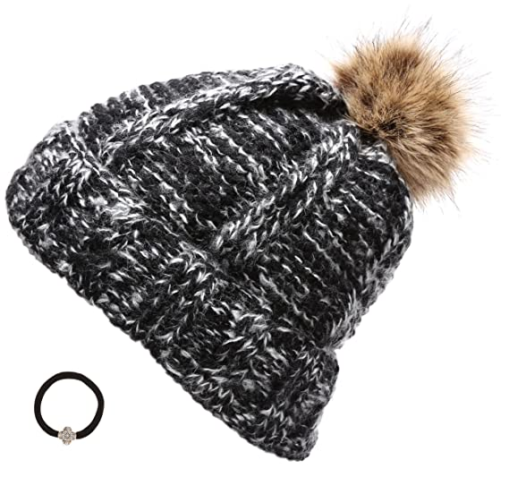 3507d876541 Women s Winter Mixed Two Tone heavy Knitted Sherpa Linning Pom Pom Beanie  Hat with Hair Tie