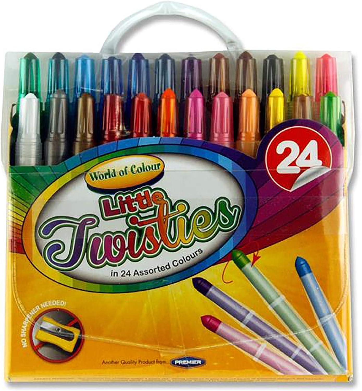 Premier Stationery 59768 World of Colour Mini Twisties Crayon - Juego de 24 lápices de colores: Amazon.es: Oficina y papelería
