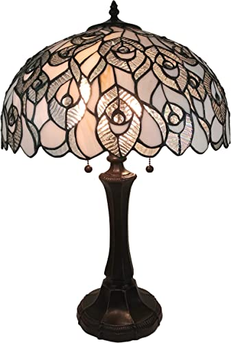 Amora Lighting Tiffany Style Table Lamp Banker Jagged Edge 22″ Tall Stained Glass White Mahogany Peacock Elegant Vintage Antique Light D cor Living Bedroom Handmade Gift AM320TL16