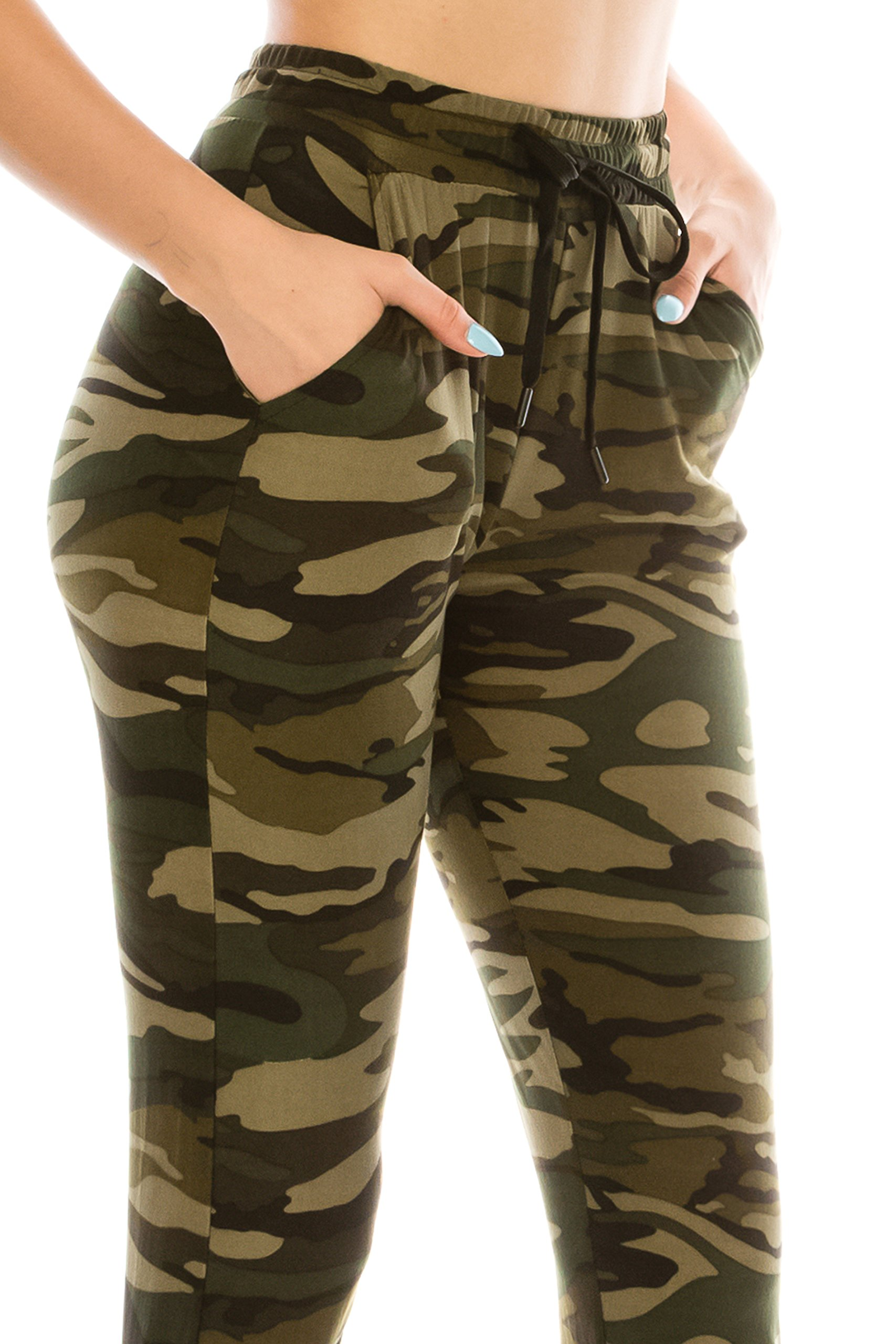 ALWAYS Women Drawstrings Jogger Sweatpants - Skinny Fit Premium Soft Stretch Camo Military Army Pockets Pants S/M by ALWAYS (Image #4)