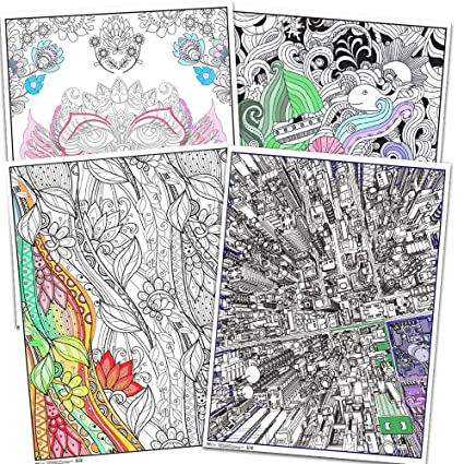 Amazon.com: Trends Int. Coloring Poster Set for Kids Adults -- 4 ...