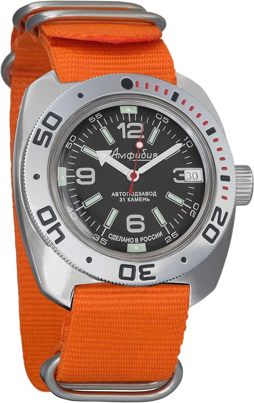 Vostok Amphibian Automático Mens reloj de pulsera de cuerda automática Militar Diver Anfibia caso reloj #090348