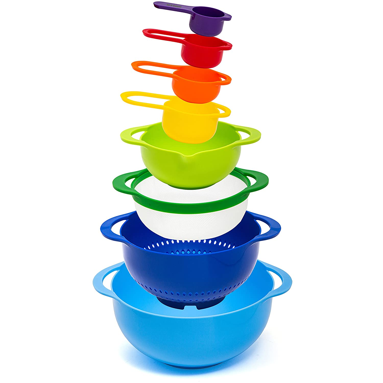 HULLR 8-Piece Measuring Mixing Bowl Set, Colorful Stackable Bowls For Baking Cooking & More HÜLLR HKMBS-100