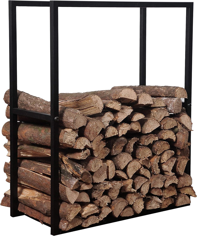 MyGift Black Metal Powder Coated Finish Firewood Holder Rack Indoor Outdoor Fireplace Log Bin