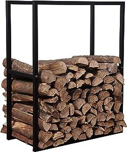 MyGift 30-Inch Black Metal Powder Coated Firewood Holder Rack/Indoor & Outdoor Fireplace Log Storage Bin
