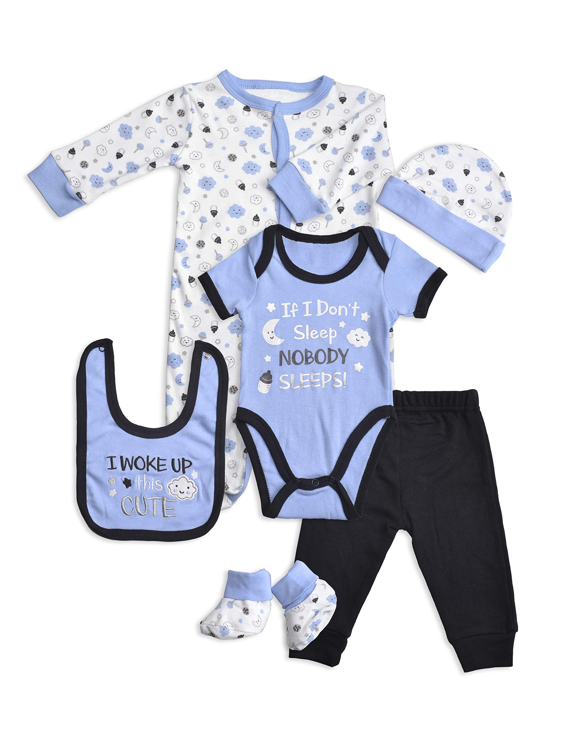 Layette Set, 6 Piece Baby Essentials for Newborn Unisex Gift Boys and Girls by Lily and Page