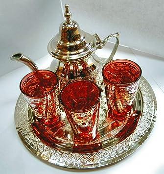 juego de te marroqui ; arabe 3 vasos de cristal,1 tetera, 1 bandeja