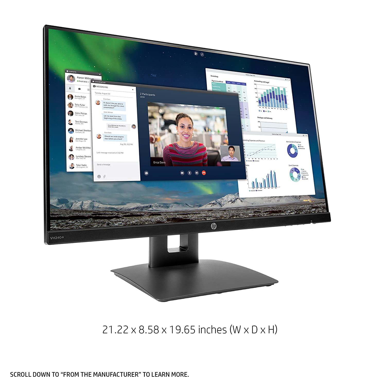 19e48d2e5d64 Amazon.com  HP 23.8-inch FHD IPS Monitor with Tilt Height Adjustment and  Built-in Speakers (VH240a