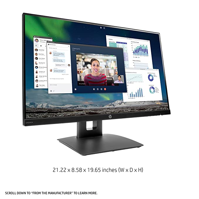 HP 23 8-inch FHD IPS Monitor with Tilt/Height Adjustment and Built-in  Speakers (VH240a, Black)