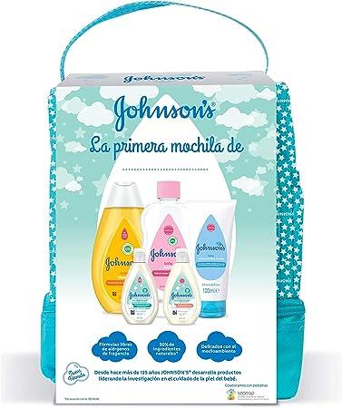 Johnsons Baby Pack Bebe Mi Primera Mochila, Champu Clásico 300 ml, Aceite Corporal 300 ml, Crema Protectora de Pañal 100 ml, Loción 50 ml, Gel 50 ml: Amazon.es: Salud y cuidado personal