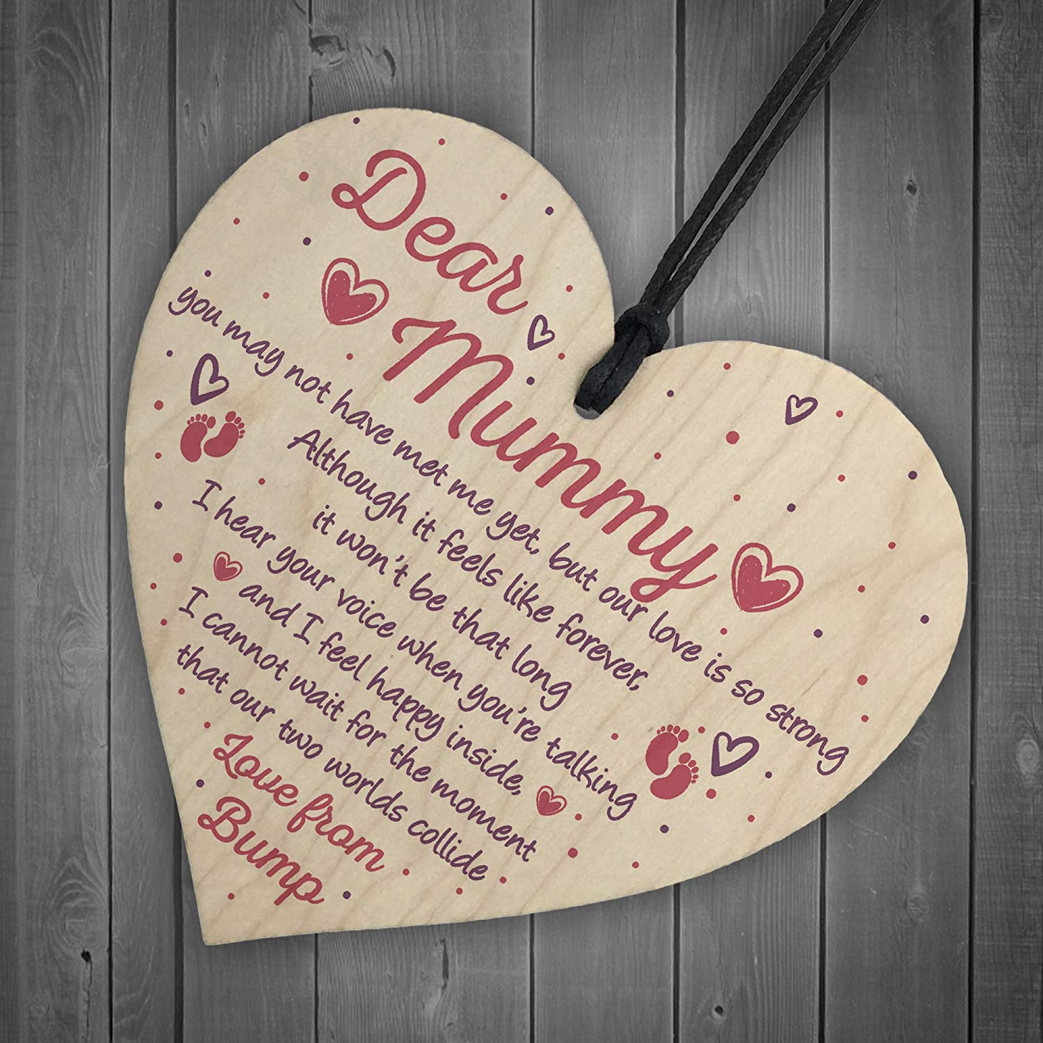 XLD Store Mummy to Be Gifts from Bump Baby Shower Baby Girl Boy Present Wooden Heart Keepsake