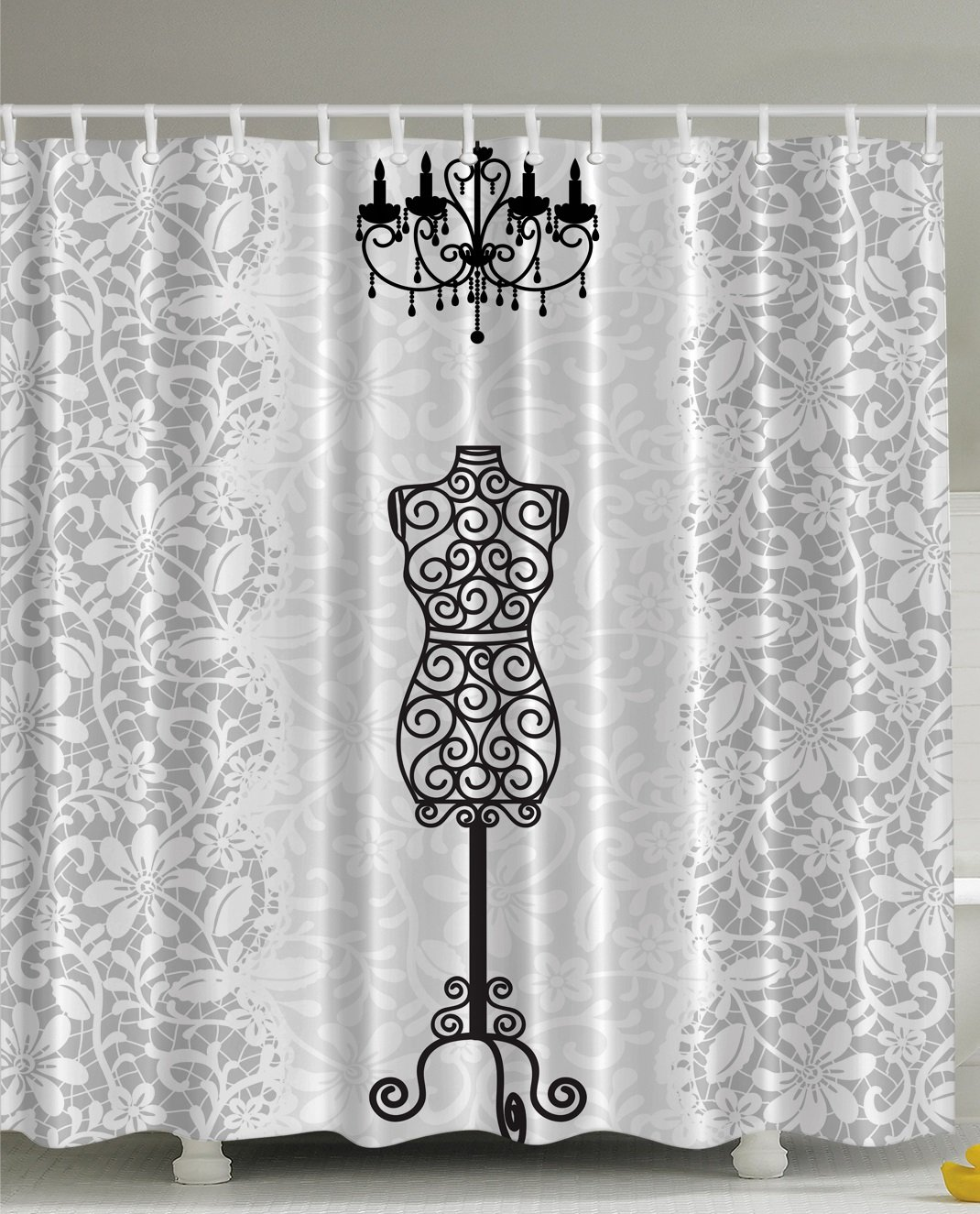 Amazon Com Gray Shower Curtain Female Dress Form Mannequin Black