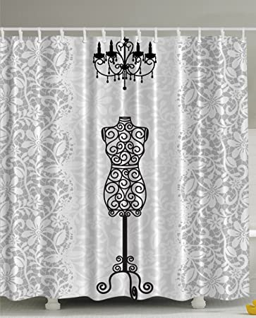 Gray Shower Curtain Female Dress Form Mannequin Black Chandelier White Lace Home Woman Fashion Theme Item