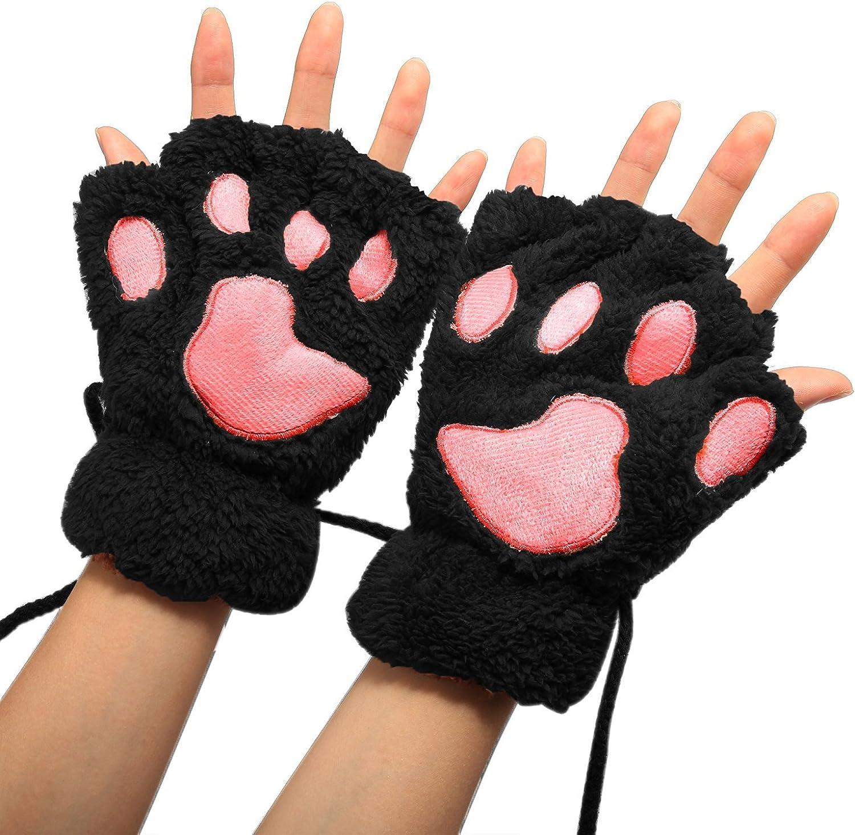 1 Pair Ladies Girls Womens Cat Paw Gloves Winter Gloves Fingerless Paw Mittens Warm Plush Half-Finger Winter Gloves