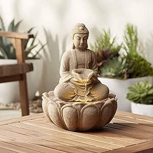 "John Timberland Calm Buddha 14"" High Fountain with LED Light"