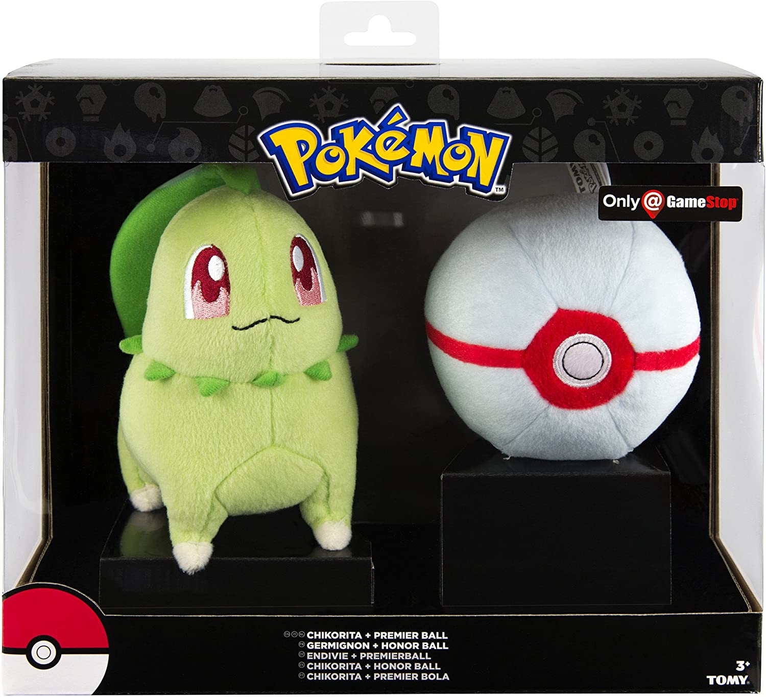 Pokemon T19412 Chikorita and Premier Pokeball Plush in gift box
