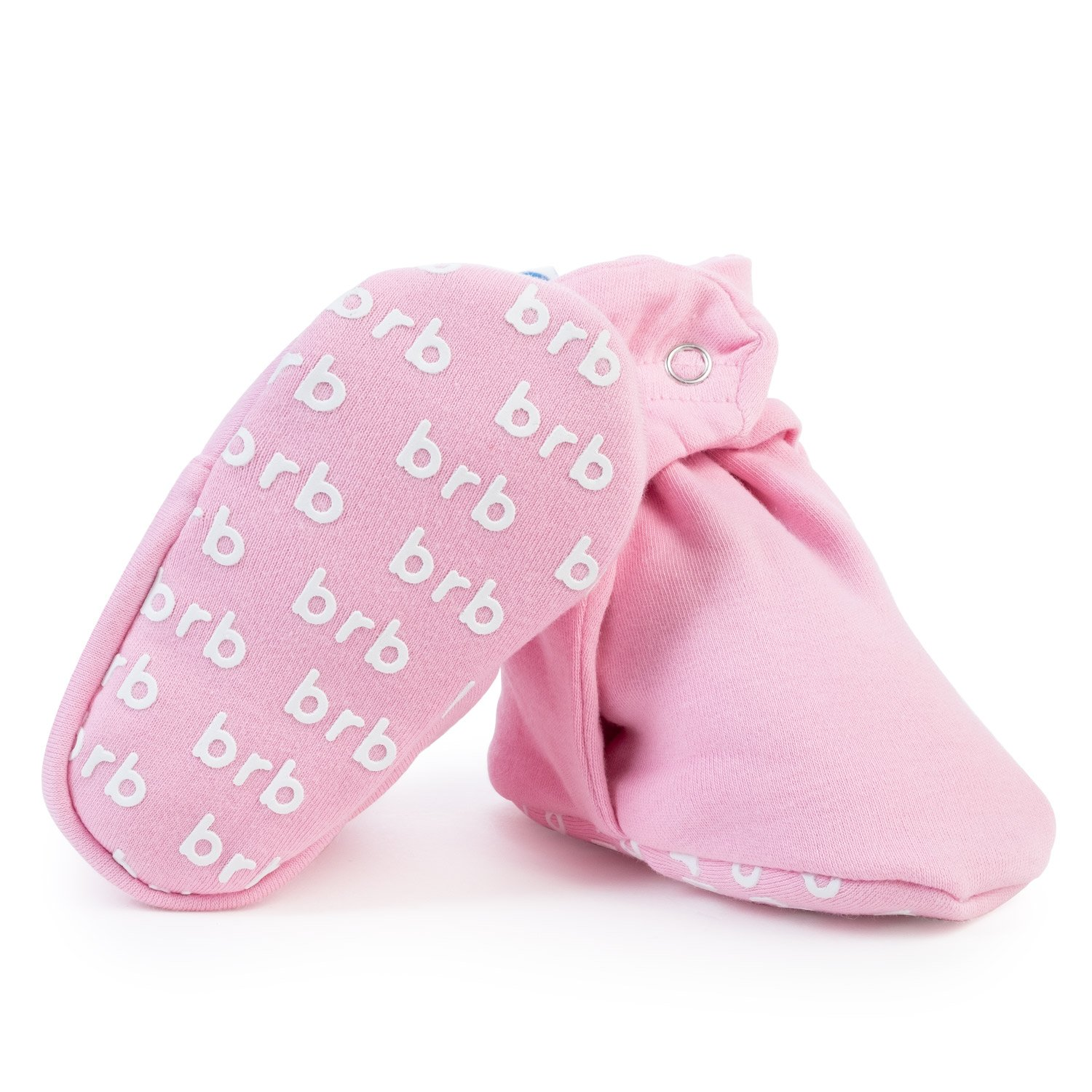 Lightweight Organic Cotton Baby Booties - Grippers, 3 Snaps - No Sock Bootie for Newborn Or Infant Boys & Girls (Ballet Pink, US 1)