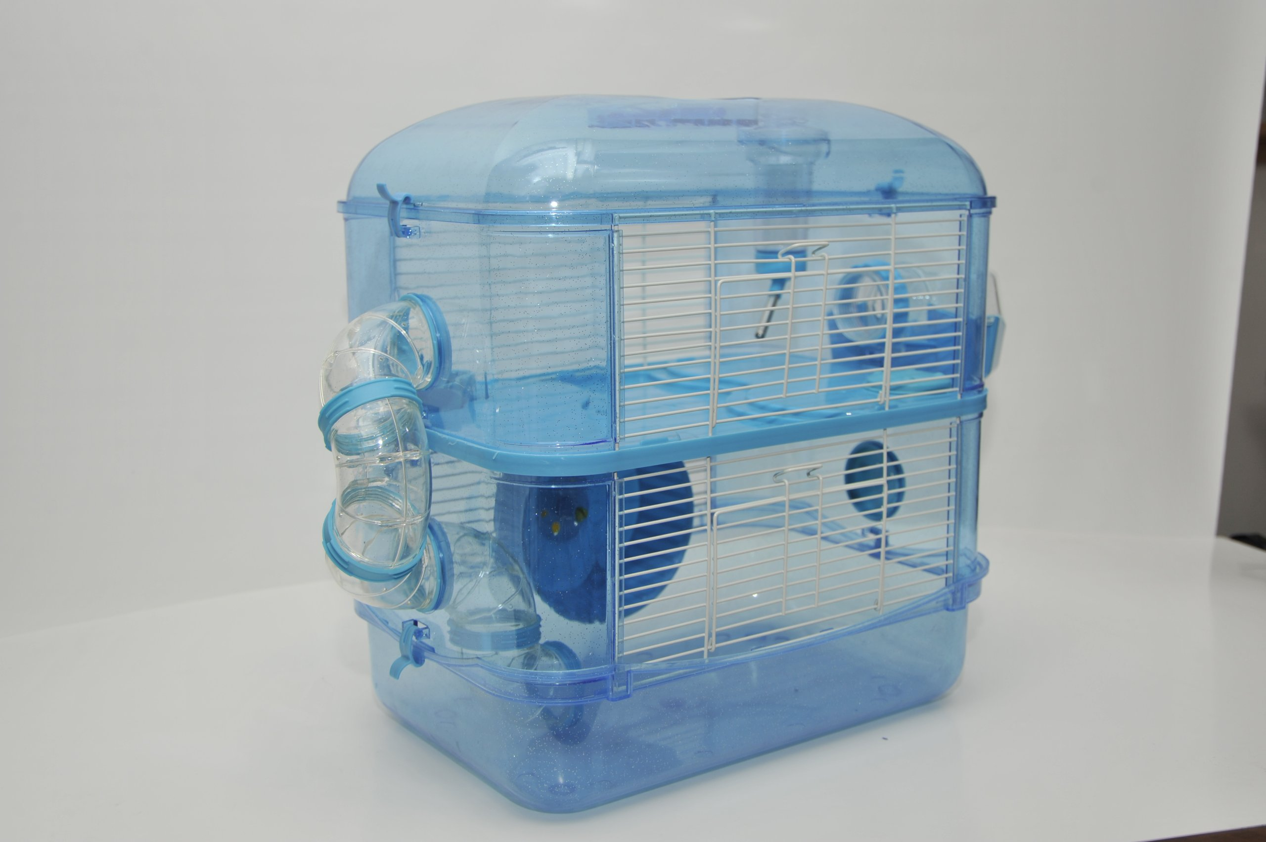 Fantazia 2 Large Blue Glitter Hamster Small Animal Cage With Free Hamster Ball