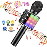 BlueFire Karaoke Microphone 4 in 1 Bluetooth Karaoke Microphone Wireless Handheld Microphone Portable Speaker Machine Home KTV Player with Record Function for Android & iOS Devices(Black)