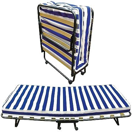 Baldiflex Dali - Cama plegable con colchón de poliuretano expandido Waterfoam ortopédico (10 cm de altura, somier de láminas, 80 x 190 cm)
