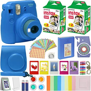 Fujifilm Instax Mini 9 Instant Camera Cobalt Blue With Carrying Case Fuji Instax Film Value Pack 40 Sheets Accessories Bundle Color Filters Photo Album Assorted Frames Selfie Lens