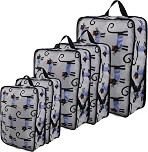 Animal Travel Cubes for Packing Lightweight Compression Bags Set of 5 Ripstop Nylon Cute Cat Print Expandable Traveling Accessories for Women Men Carry on Luggage Gray